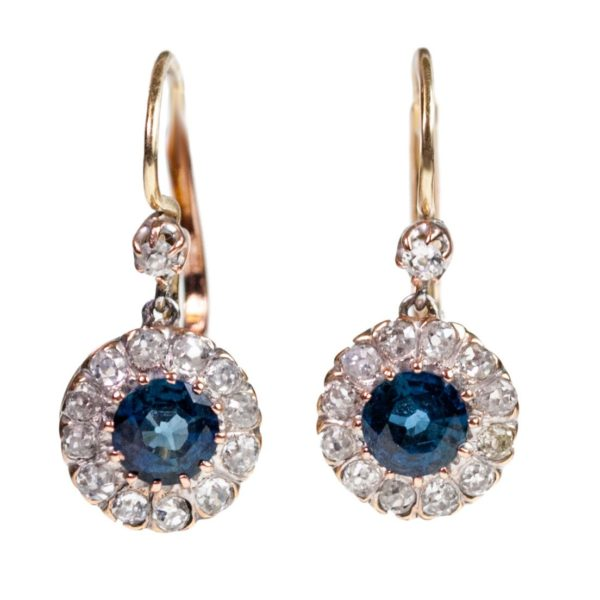 Vintage Sapphire and Diamond Earrings