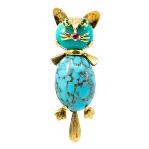 Vintage Turquoise and Gold Cat Brooch
