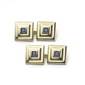 Cartier Sapphire Gold Cufflinks MO1