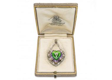 edwardian heart shape in box suffragette-pendant