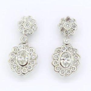Vintage diamond drop earrings, total diamond weight 4.10 carats