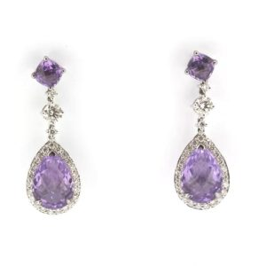 Amethyst and diamond drop earrings, 8.87 carats in total gemstones, 18ct white gold