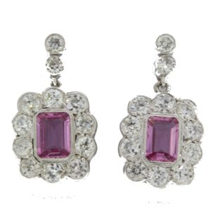 Pink sapphire and diamond drop earrings, 2.20 carat sapphires, 2.51 carat diamonds (totaling), stamped 750