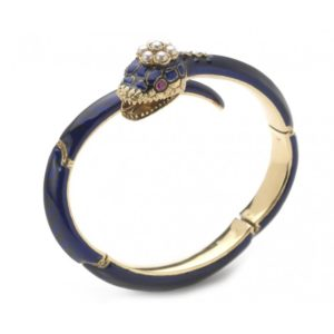 ANTIQUE BLUE ENAMEL SNAKE BANGLE