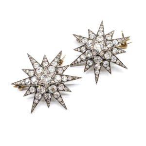 ANTIQUE DIAMOND STAR BROOCHES