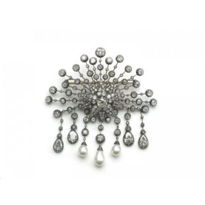 ANTIQUE DIAMOND STARBURST AND PEARL BROOCH
