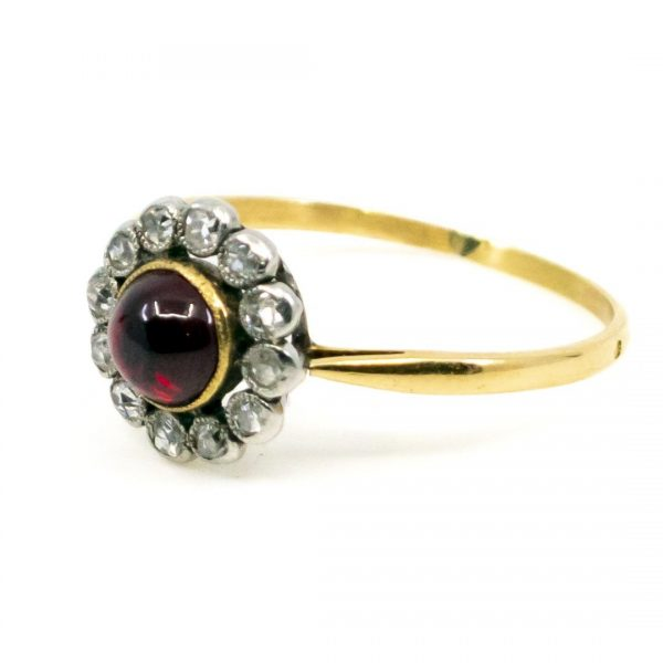 Antique Diamond and Garnet Cluster Gold Ring