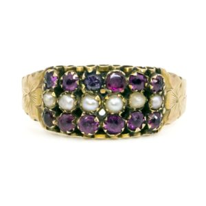 Antique Victorian Garnet and Pearl Gold Ring