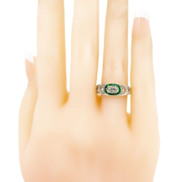 Art Deco Diamond And Emerald Band Ring Jewellery Discovery
