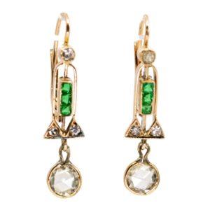 Art Deco Diamond and Emerald Earrings