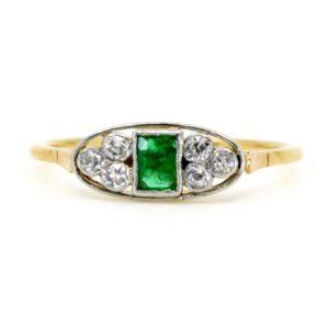 Art Deco Diamond and Emerald Gold Ring