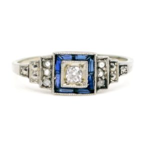 Art Deco Diamond and Sapphire Cluster Ring