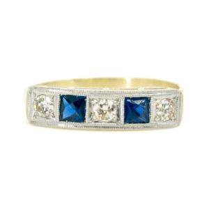 Art Deco Diamond and Sapphire Five Stone Ring