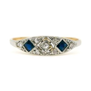 Art Deco Diamond and Sapphire Gold Ring