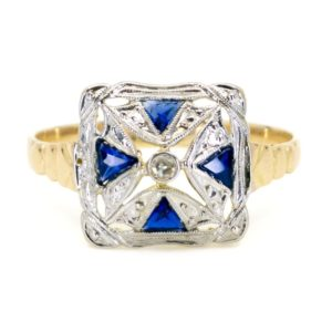 Art Deco Diamond and Sapphire Square Ring