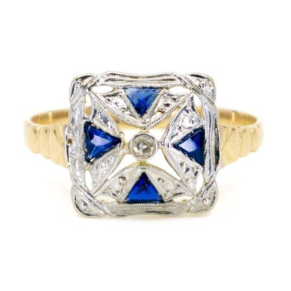 Art Deco Diamond and Sapphire Square Ring