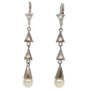 Art Deco Pearl and Diamond Drop Earrings