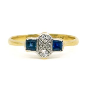 Art Deco Sapphire and Diamond Gold and Platinum Ring