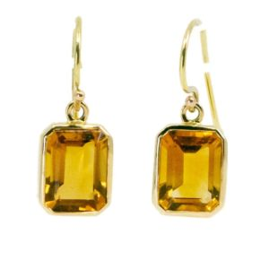 Citrine Gold Drop Earrings