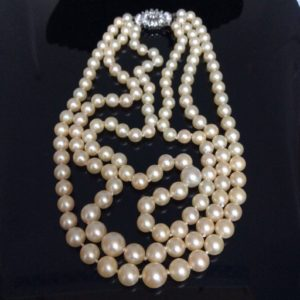Vintage Pearl and Diamond Triple Row Collar Necklace