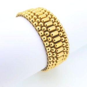 Intricately designed French gold bracelet, with sphere and oblong pattern, Circa 1960, comes with original case, 18ct yellow gold, French hallmark, 82.63g