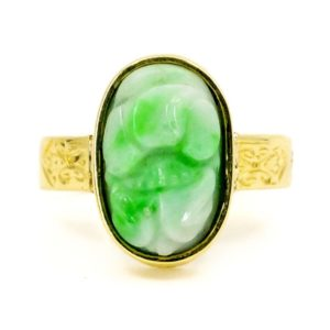 Late Victorian Jade and Gold Ring