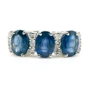Modern Sapphire and Diamond Gold Ring
