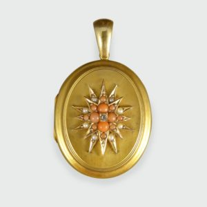 Antique Victorian Pearl Diamond and Coral Gold Locket Pendant
