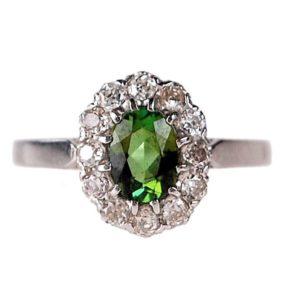Peridot diamond cluster ring Old Mine Cut Diamonds in Platinum.