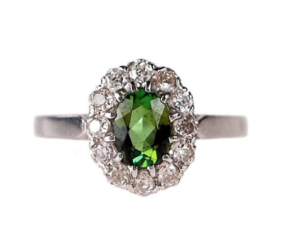 Peridot diamond cluster ring Old Mine Cut Diamonds in Platinum.