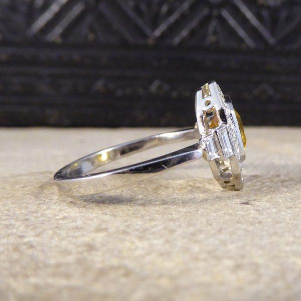 1.70ct Emerald Cut Yellow Sapphire and Diamond Cluster Ring, Platinum