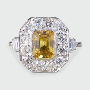 1.70ct Emerald Cut Yellow Sapphire and Diamond Cluster Ring, Platinum