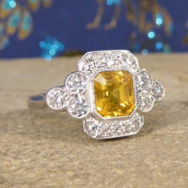 1.50ct Yellow Sapphire and Diamond Cluster Ring, Platinum