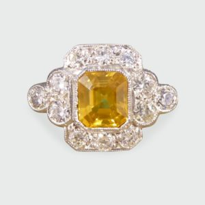 1.50ct Yellow Sapphire and Diamond Cluster Ring, Platinum
