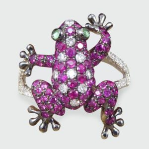 Round Cut Ruby and Diamond Frog Ring