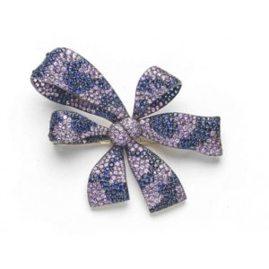 SHADED SAPPHIRE BOW BROOCH