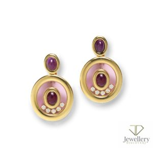 Chopard happy diamond and ruby earrings gold floating diamonds