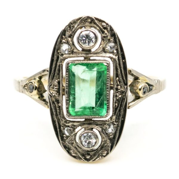 Vintage Art Deco Emerald and Diamond Gold Ring