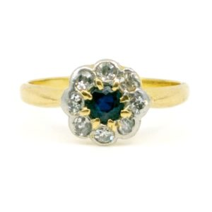 Vintage Diamond and Sapphire Cluster Gold Ring