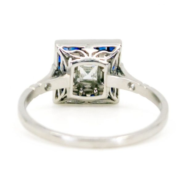 Vintage Diamond and Sapphire Target Platinum Ring