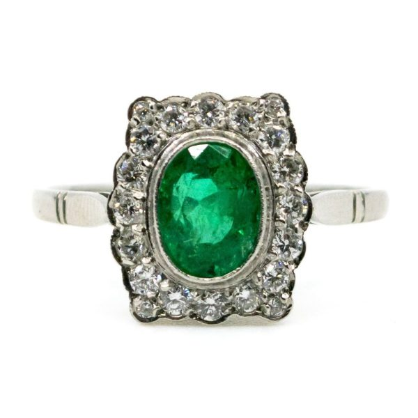 Vintage Emerald and Diamond Platinum Ring