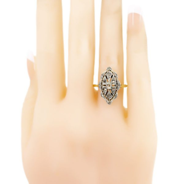 Vintage Marquise Shape Diamond Cluster Ring