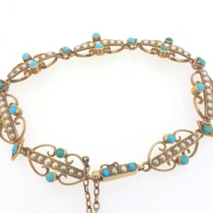 A delicate antique Victorian bracelet set with turquoise and split pearls, Detailed 15ct yellow gold. A beautiful period piece.