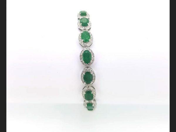Emerald & Diamond flexible Bracelet 18ct white gold. (Emeralds 4.29ct, diamonds 1.48ct)