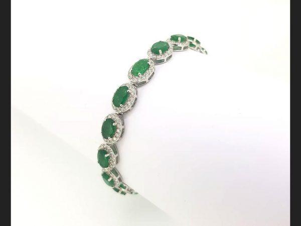 Emerald & Diamond Bracelet 18ct white gold.