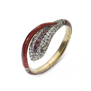 Antique Victorian red enamel and diamond snake bangle red guilloche enamel snake bangle, the head with old-cut diamonds