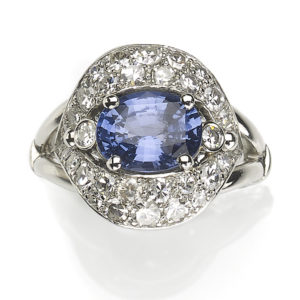 2.57ct Fancy Sapphire and Diamond Cluster Ring