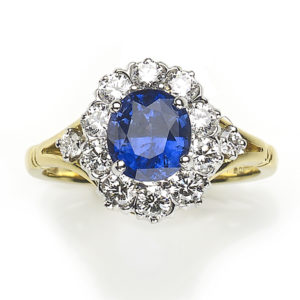 1.66ct Sapphire and Diamond Cluster Ring, 18ct Gold