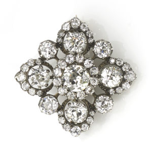 Antique Victorian Quatrefoil Diamond Brooch