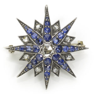 Antique Victorian Sapphire and Diamond Eight Pointed Star Pendant Brooch